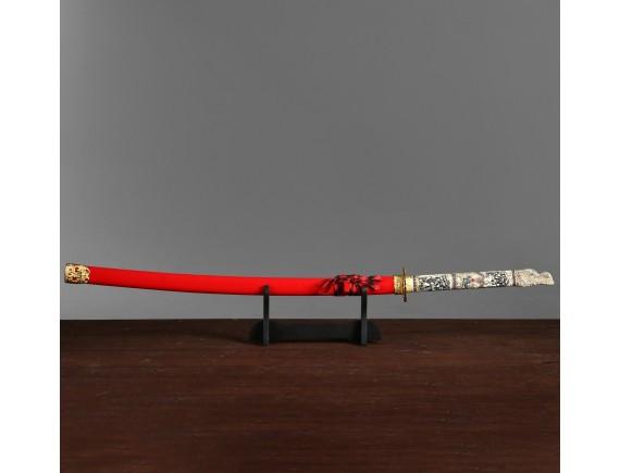 """Меч самурайский - катана """"Красный дракон"""" на подставке"""