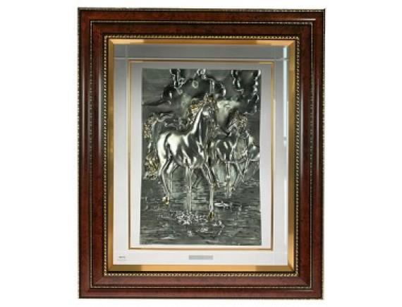 """Картина """"Лошади"""" с серебряным покрытием"""