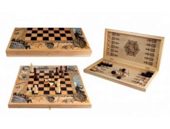 Набор игр: шахматы, шашки, нарды.