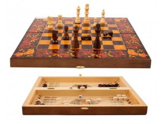 """Набор игр """"Хохлома"""": шахматы, шашки, нарды"""