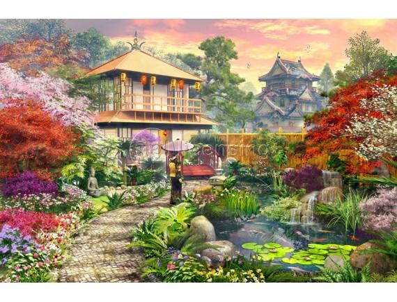 Картина - Японский сад с Гейшей